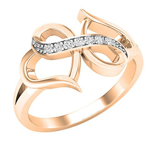 Dazzlingrock Collection 0.05 Carat (ctw) Round Diamond Ladies Infinity Double Heart Engagement Promise Ring, 10K Rose Gold, Size 7