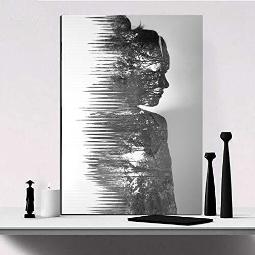 SDFSD zelfloos modern decoratief affiche afdrukken mooi meisjesschaduwbeeld-landschapsschilderij wandschilderij kunst zwart-wit beeld 60X90CM Q
