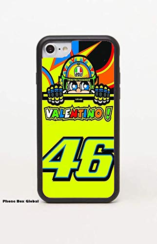 NIEUWE VALENTINO ROSSI MOTOGP ZWART RUBBER RIM koffer past APPLE IPHONE 7 PLUS