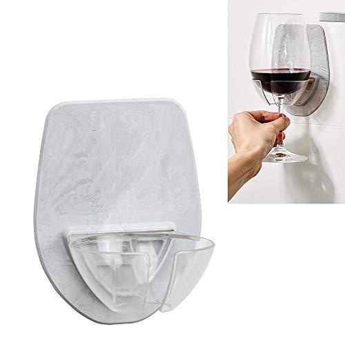 AMhomely Badewanne Weinregal,Watt Kunststoff Weinglashalter für die Dusche im Bad Rotwein Glashalter Wein Glas Halter für Weingläse (Grau)