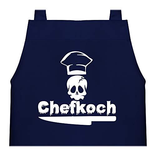 Shirtracer Kinderschürze mit Motiv - Chefkoch Totenkopf - 60 cm x 50 cm (H x B) - Navy Blau - schürze navy - X978 - Kochschürze und Schürze für Kinder