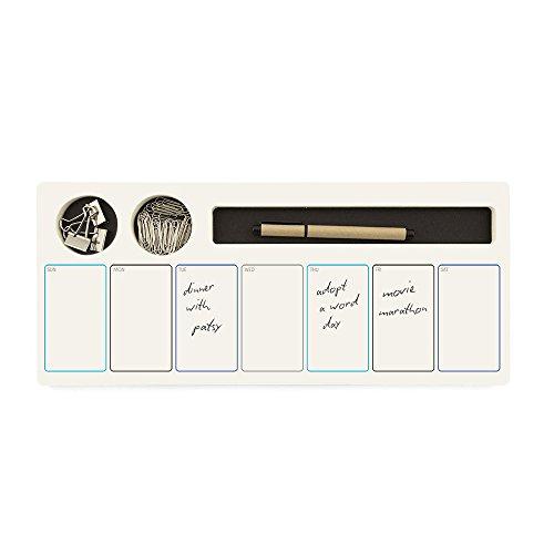 Jotblock Design Wochenplaner mit integriertem Stift und Fächern in schwarz mit Büroklammern und Clips,Tagesfelder 38 x 16 cm, 60 Blatt/Wochen