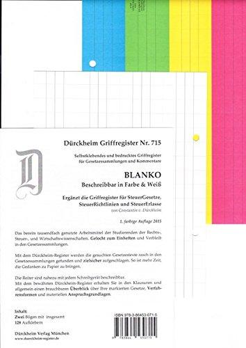 DürckheimRegister BLANKO: FARBE beschreibbar für Gesetzestexte mit Stichworten: 188 beschreibbare Registeretiketten (sog. Griffregister) für Gesetzessammlungen