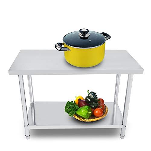 Banco de trabajo de cocina, 2 capas, acero inoxidable, para comedor, banco de trabajo, preparación de almacenamiento de alimentos 4x2FT = 122X61CM