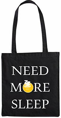 Mister Merchandise Tasche Need More Sleep Schlaf Stofftasche, Farbe: Schwarz