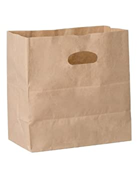 Duro ID# 84245 Die Cut Handle Bag 40# Natural Kraft 500pk 11 x 6 x 11