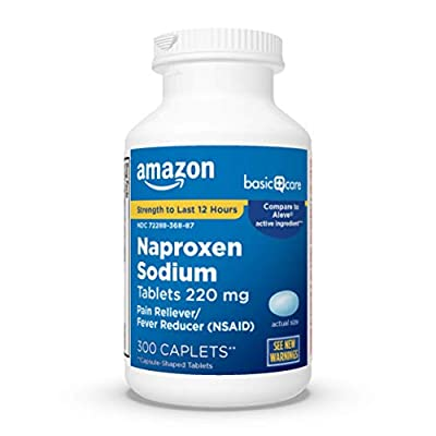 ACTIVE INGREDIENT: The active ingredient in Amazon Basic Care Naproxen Sodium Tablets, 220 mg is Naproxen Sodium. Compare to Aleve Caplets active ingredient. STRENGTH TO LAST 12 HOURS: Pain reliever and fever reduction for up to 12 hours. PAIN RELIEV...