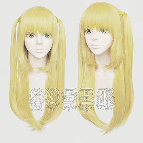 Anime Death Note Amane Misa Cosplay Perücken 60 cm lang Goldene hitzebeständige synthetische Haarperücke + Perückenkappe