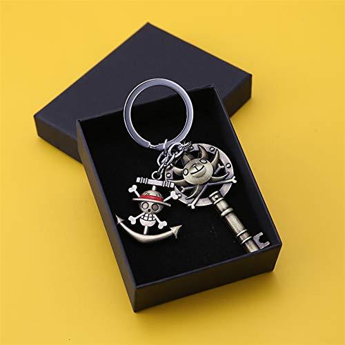 Schlüsselanhänger Neue Anime One Piece Keychain Teufel Früchte Figur Strohhut Schädel Luffy Anhänger Schlüsselanhänger Metall Tasche Schmuck Geschenk (Color : 7 with Box)