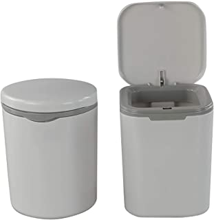 Morcte 2-Pack 0.5 Gallon Tiny Trash Can with Push Button Lid, Gray