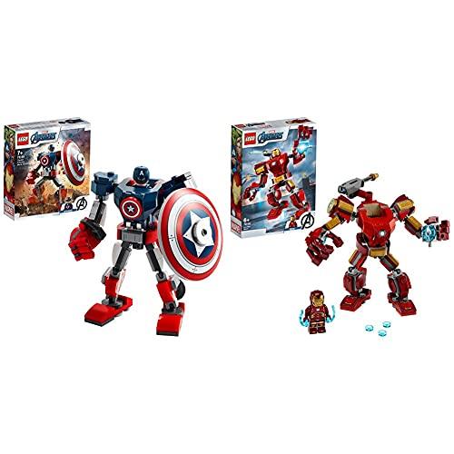 LEGO Super Heroes Marvel Avengers Armatura Mech Di Capitan America, Giocattolo Action Figure & SuperHeroes MarvelAvengersMechIronMan, Playset ConFigura Mobile Da Combattimento