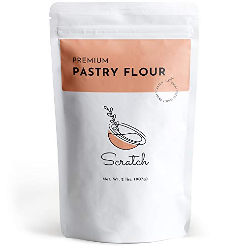 Scratch Premium Unbleached Pastry Flour - (2 LB) Gourmet Baking Ingredients - Great for Making Delicious Pastries, Cakes, Biscuits, Cookies, Sweet Bread, Pound Sponge Cake, & Other Delicious Desserts
