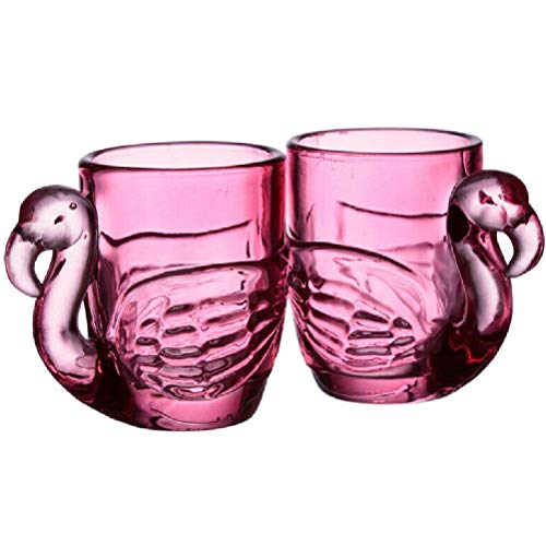 Set of 2 Glass Flamingo Pink Shot Glasses (90ml)