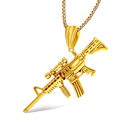 WSJF Collar Colgante de Ametralladora Regalo for Marido/Novio/Hombre Punk Ejército de Acero Inoxidable Collar Colgante de Ametralladora Etiqueta de Pistola Collar Colgante (Color : Gold)