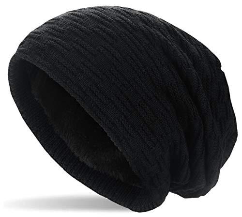 Hatstar Warme gefütterte Feinstrick Beanie Mütze mit Flecht Muster und Sehr Weichem Fleece Innenfutter Wintermütze Damen Herren, 1 | Schwarz, UniSex