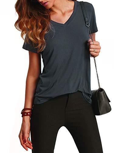 Floerns Women's V Neck Short Sleeve Casual T-Shirt Medium Dark Grey