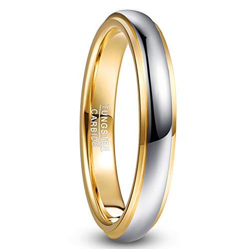 Nuncad Men's / Women's Silver Gold 6 mm Wide Tungsten Ring, Unisex for Wedding, Engagement, Daily and Hobby, Size 54 to 67 4 mm