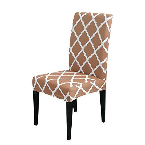 RGBVVM Stuhlhussen Hellbraun kariert Universal Stretchhusse Stuhlbezug Stretch Abnehmbare Waschbar Stuhlbezug für Hotel, Restaurant Dekor(4 Stück)
