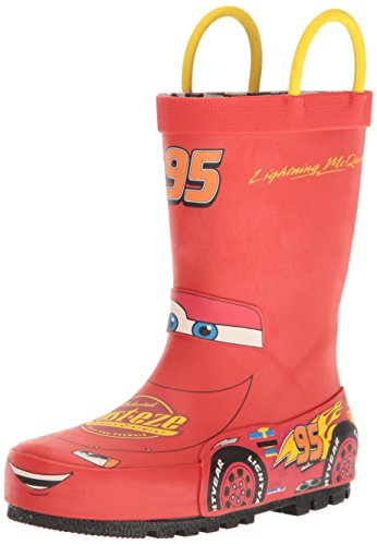 Western Chief Kids Waterproof Disney Character Rain Boots with Easy on Handles, Lightning McQueen, 10 M US Toddler