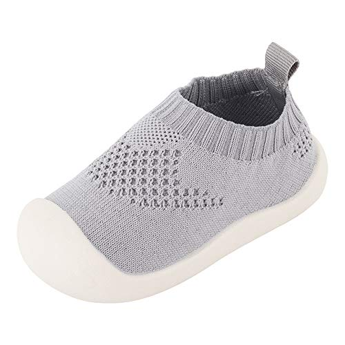 Zapatos de Primeros Pasos Zapatillas de Volar Tejida para Pies Anchos Antideslizante Respirable Ultra-Ligero para Bebé Infante Niñas Niños Pequeños - Talla del Fabricante 14 Gris