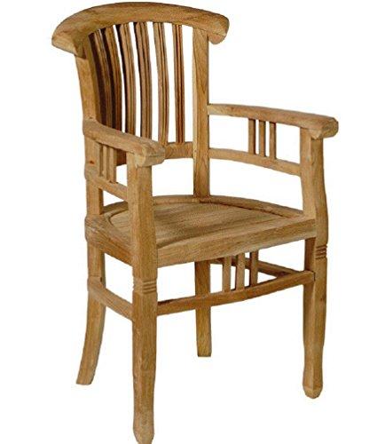 M&M m³ Armchair Colonial Sanded Stuhl mit Armlehnen, Teak, Natur, 60 x 50 x 96 cm