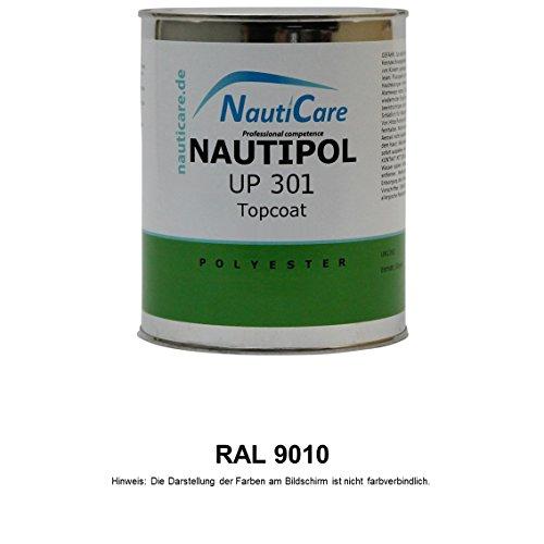 NautiCare Topcoat Polyesterharz Styrolfrei | 35 RAL Farben | 850 g | NautiPol UP 301 Harz mit MEKP Härter (RAL 9010 Reinweiß)