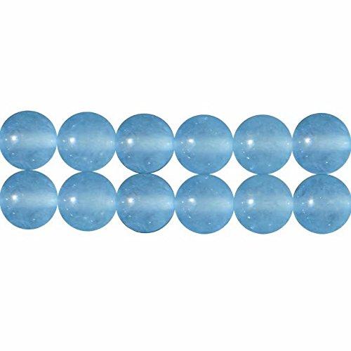 Perlen für Schmuckherstellung 6mm Aqua Blau Chalcedon Gefärbt Perlen 38cm Strang Approx 60 Stück
