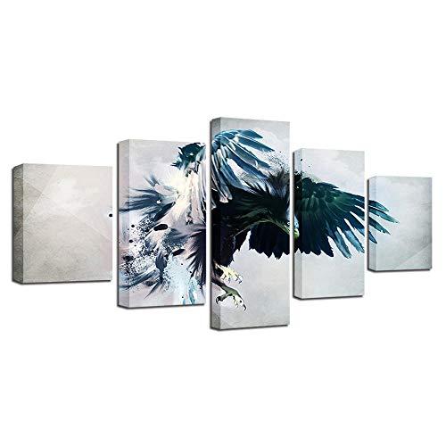 Cuadro En Lienzo Fotos de Animal Eagle Impresión De 5 Piezas Material Tejido No Tejido Impresión Artística Imagen Gráfica Decor Pared 100x55cm