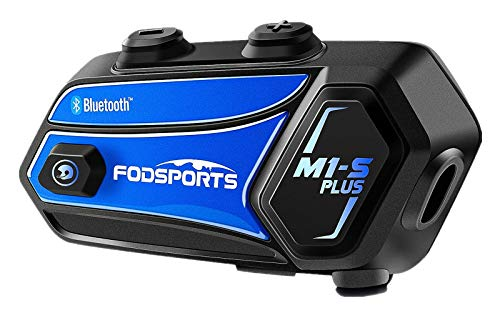 Bluetooth Motorcycle Headset FODSPORTS M1-S Plus with Music Sharing/Mute Microphone/FM 8 Riders Group Motorcycle Helmet Intercom HD Audio Stereo Music 900MAH/ Boom & Soft Mic (1 Blue)