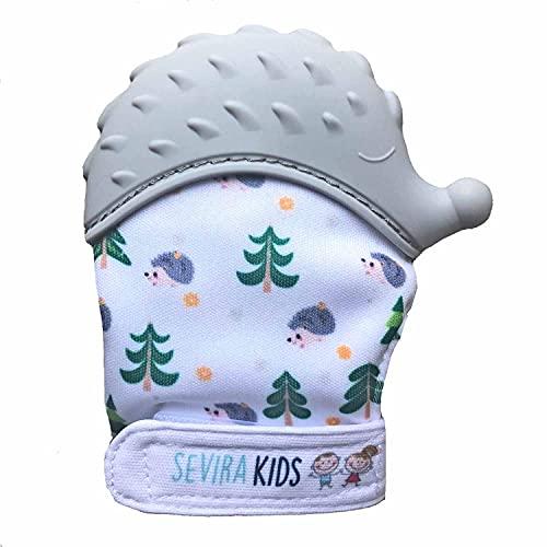 Sevira Kids - Moufle de dentition - Bebe - Silicone Alimentaire - Protège Mains - Apaise Gencives - Lavable en taquine - Cadeau Naissance - Imprimé Hérisson - Gris