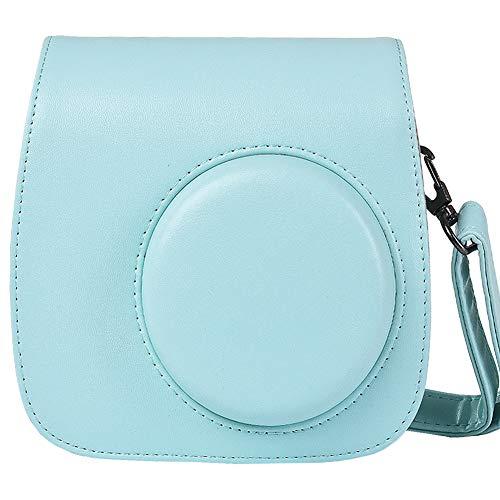 SAIKA Tasche Hülle für Fujifilm Instax Mini 9/8/8 + Sofortbildkamera, Vintage Compact Schutztasche mit Schultergurt & Tasche (Eisblau)
