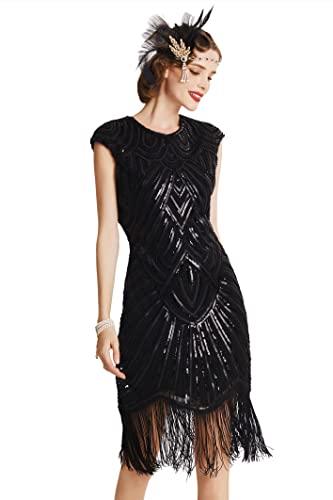 Babeyond - Vestido de charlestón con estilo de los años 20, del Gran Gatsby, con flecos y cuello en V - Negro - XXX-Large