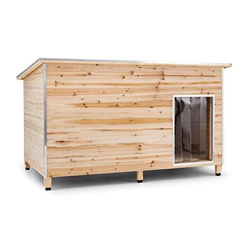 OneConcept Schloss Wuff XL - hondenhok in L-formaat, echt houten huis, te openen dak, extra groot: 110 x 160 x 100 cm, te openen dak, tot 60 cm schouderhoogte, 10 cm hoge poten, bruin