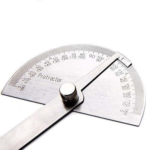 YCX 180 Grad Winkelmesser Winkel Lineal Rotary Mess Werkzeug - Edelstahl,Winkelmesser Einfacher Winkelmesser Einfacher Winkelmesser,Silber