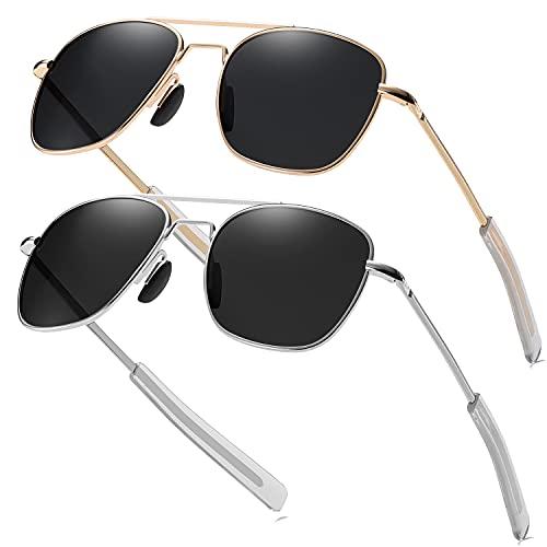Rcxkoom Aviator Sunglasses for Men Army Military Style Polarized Pilot Sun Glasses Metal Frame Spring Hinge Bayonet Temple Shades