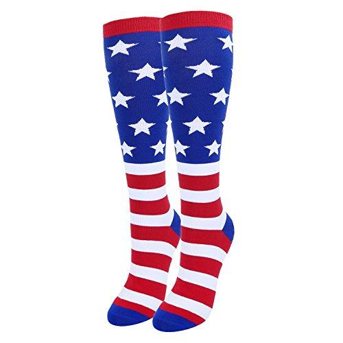 Zmart Women Girls Patriotic American USA Flag Over the Calf Socks, Striped Stars Design Gift