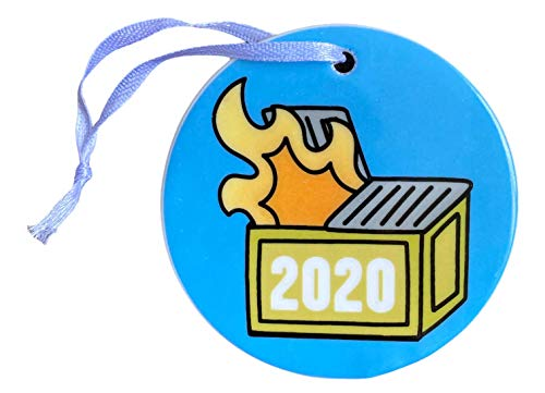 2020 Dumpster Fire Christmas Tree Ornament - Funny Ceramic Keepsake for Those who Survived Quarantine, Pandemic, and The Toilet Paper Shortage