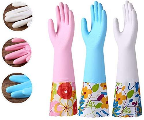 Guantes de goma de limpieza 3 pares Guantes for lavar vajilla de cocina guante de goma impermeable con forro de algodón De múltiples fines