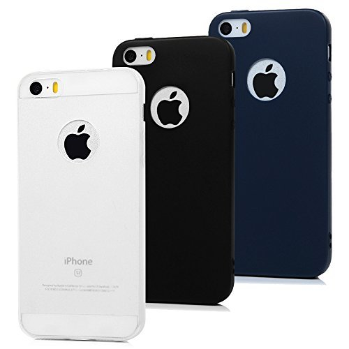 3x Cover iPhone 5S Silicone, MAXFE.CO Cover iPhone SE / 5 Morbido TPU Flessibile Gomma Opaco Custodia Antiscivolo Satinato Cassa Protettiva iPhone 5 / 5S / SE - Blu scuro, Nero, Bianco Trasparente