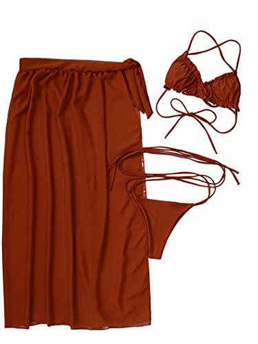 Swimwear Sexy 3 piezas traje de baño mujeres Tie Dye Push Up acolchado Biquini verano traje de baño tanga bikini 2021 mujeres falda qw059