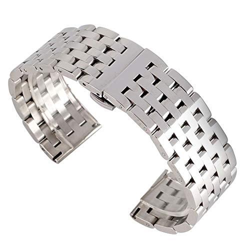 DFKai1run Correa de Acero Inoxidable, 20 / 22mm Venda de Reloj de los Hombres Reloj de la Correa de Repuesto de Plata Pulsera de Acero Inoxidable Sólido Enlace Correa de Metal Deportes