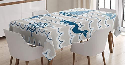 ABAKUHAUS Nautico Tovaglia, Cartoon Nave Whale Waves, Rettangolare per Sala da Pranzo e Cucina, 140 cm x 170 cm, Beige Blu Bianco