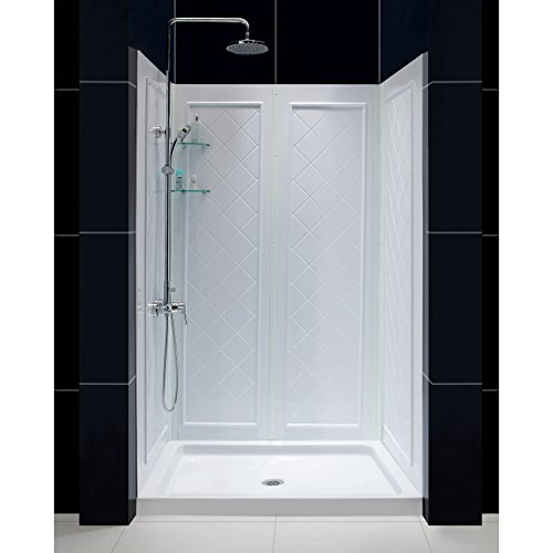 shower wall materials DreamLine 32 in. D x 48 in. W x 76 3/4 in. H Center Drain Acrylic Shower Base and QWALL-5 Backwall Kit In White, DL-6070C-01