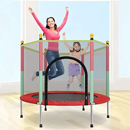 Yinguo 5FT Kids Trampoline with Safety Enclosure Net and Frame Spring Cover, Round Trampoline Jumping Bed, New Year for Children Training Mat Indoor Outdoor Activities 3-12 years old