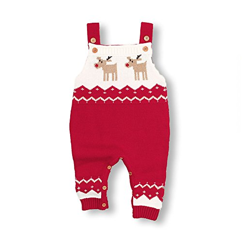 mimixiong Baby Christmas Sweater Toddler Reindeer Outfit Sleeveless Red Clothes (0-6Months,Red-Romper)