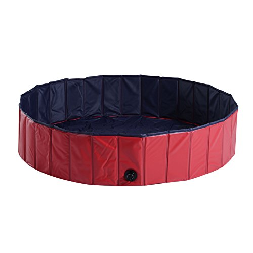 PawHut Hundepool Planschbecken Schwimmbecken Schwimmbad Hundebad, PVC+Holz Rot Φ140x30cm