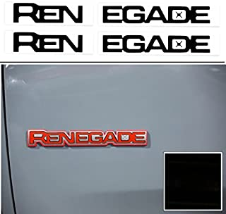 Reflective Concepts RENEGADE Emblem Inlay Decal Stickers for 2015-2019 Jeep Renegade - (Color: Gloss Black)