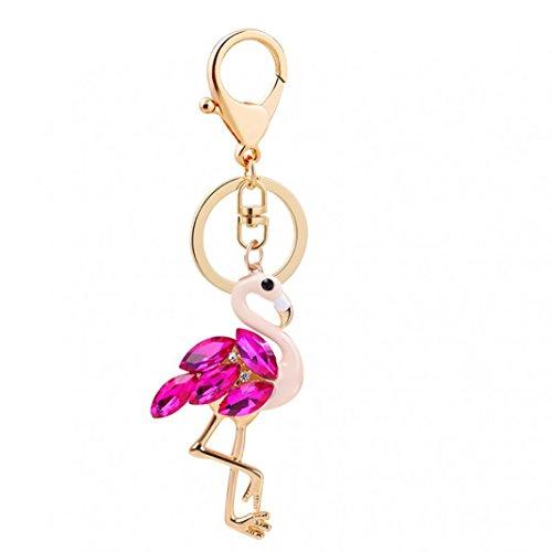 Steellwingsf Moda Flamingo Estilo Rhinestone Llavero Bolsa de Coche Colgante Mujer Llavero Regalo (Rosa Rojo)