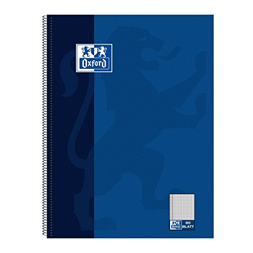Oxford 100050358 Collegeblock, A4+, kariert/Rand, 80 Blatt, 90 g/m² Optik Paper, 5-er Pack, dunkelblau (5, A4+, kariert/Rand)