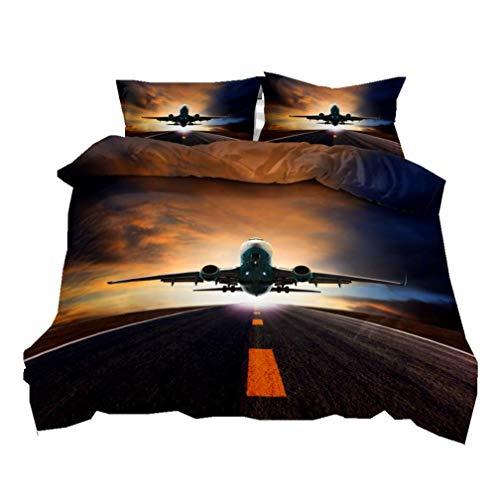 Moderne Flugzeug Bettwäsche Set Luftfahrt Thema Reißverschluss Bettbezug mit Kissenbezug, Blau Grau Braun 3D Print Mikrofaser Luxuriöse Tagesdecke Abdeckung für Männer Junge S (Muster-5, 135x200 cm)